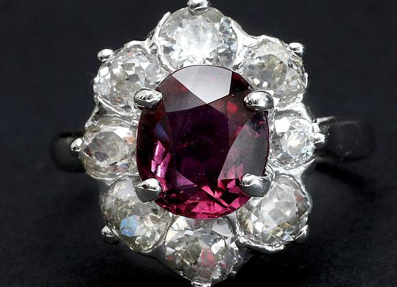 "Bague retro or gris rubis et diamants ""Nectar Subtil"""