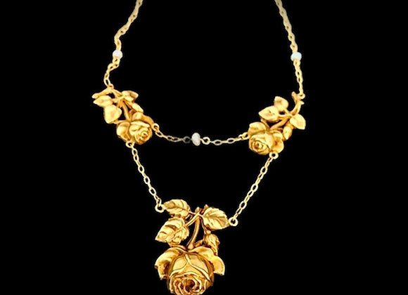 "Collier retro or jaune ""La Rose Noire"""
