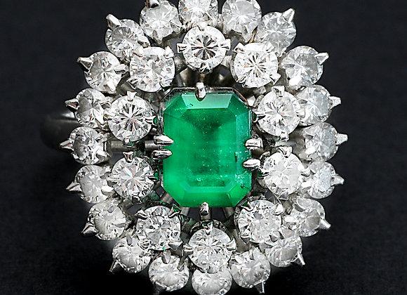 """Bague or gris platine émeraudes et diamants """"Cœur Eclatant"""""""