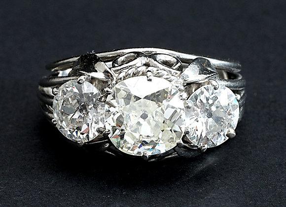 """Bague de fiançailles vintage platine et diamants """"Triptyque Enchanté"""""""