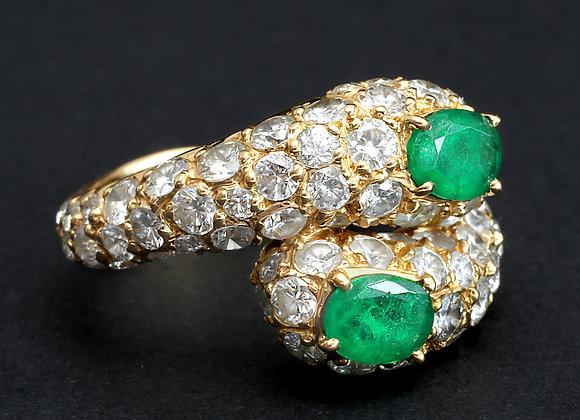 """Bague toi et moi or jaune émeraudes et diamants """"Rock & Green"""""""