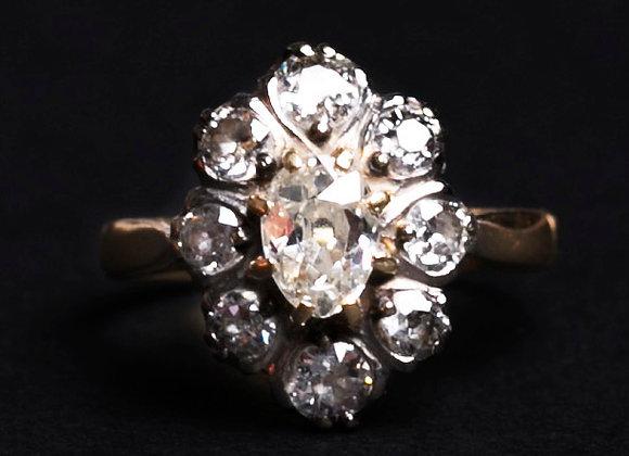Bague marguerite des prés or deux tons et diamants face