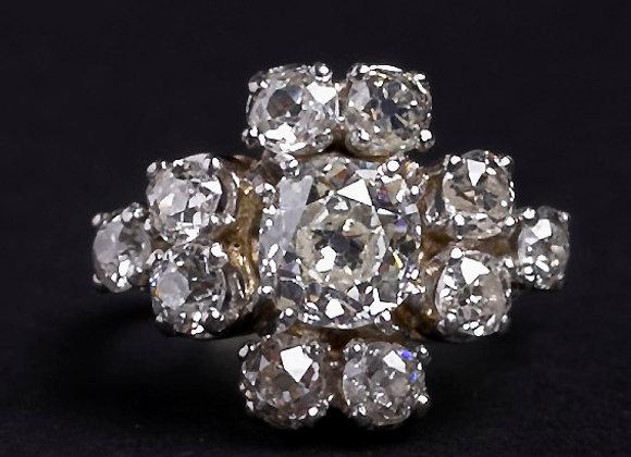Bague Marguerite enchanteresse or blanc et diamants face