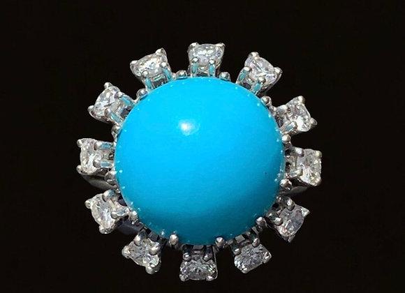 """Bague vintage or gris diamants et turquoise """"Jeune Fille pas Sage"""""""