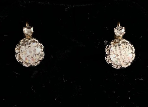 """Boucles d'oreilles dormeuses or jaune et diamants """"Flocons Précieux"""""""