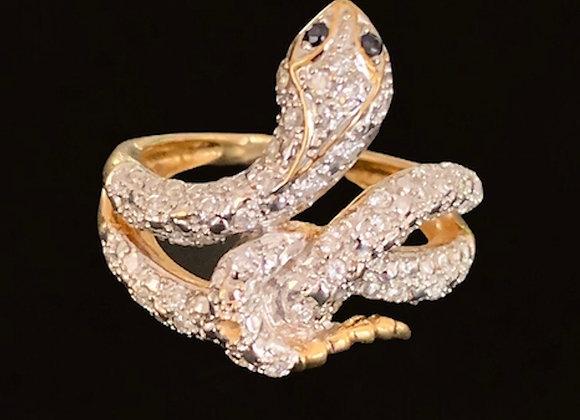 """Bague vintage or jaune pavée de diamants """"Snaky Babe"""""""