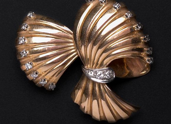 Clip pendentif plumes chatoyantes or jaune et diamants face