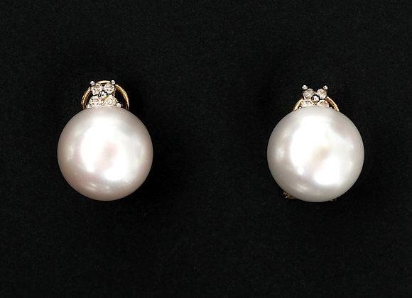 """Boucles d'oreilles anciennes perles de culture """"Mononoke"""""""