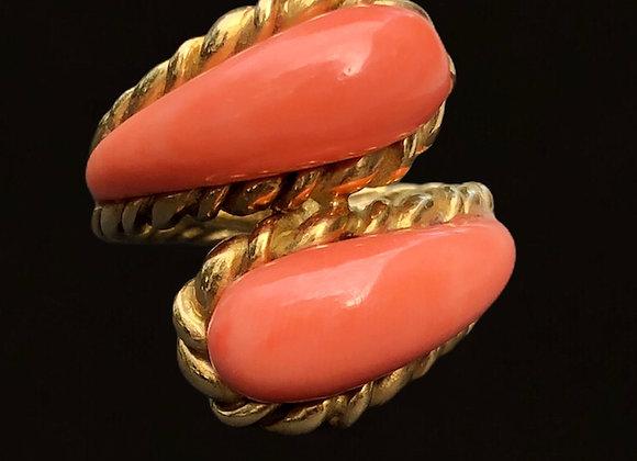 "Bague or jaune et corail ""Sweet Peach"""