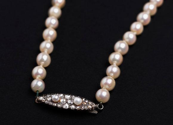 Collier Gatsby perles de culture fermoir ancien or et diamants détail