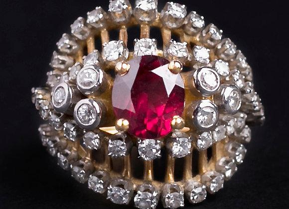 Bague coeur de grenade or jaune rubis et diamants face