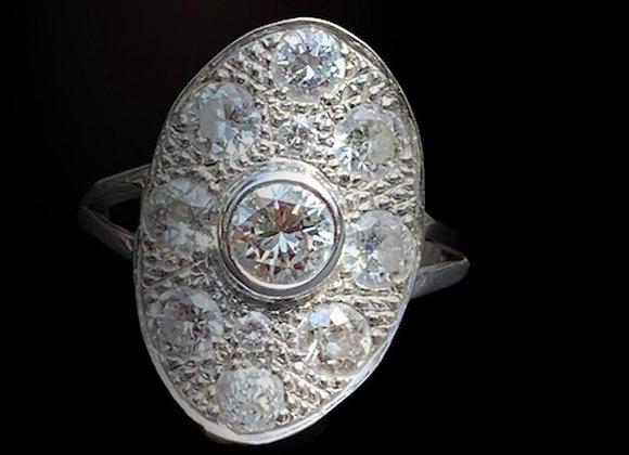 """Bague ancienne or gris et diamants """"Madame la Marquise"""""""