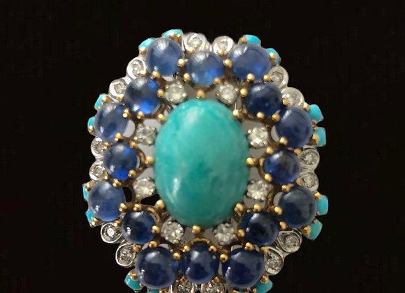 "Broche or jaune, gris, saphirs, diamants et turquoises ""Farandole"""