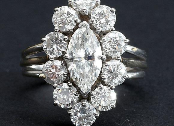"""Bague or gris et diamants """"Audace"""""""