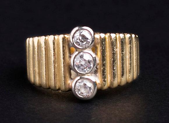 Bague boutons précieux or jaune et diamants face