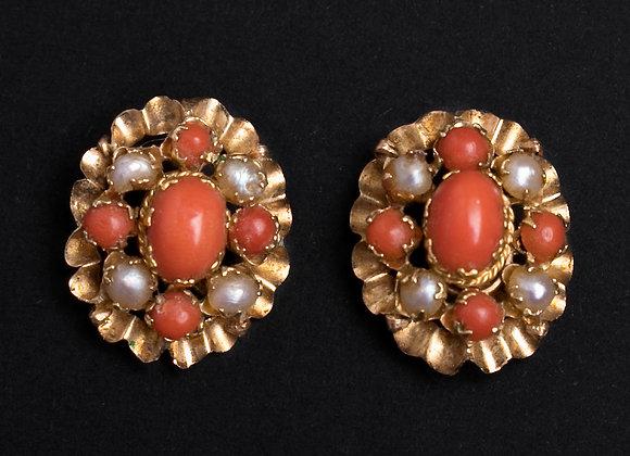Boucles au parfum d'oranger or jaune corail et perles fines face