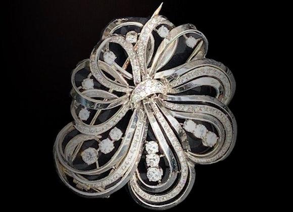 """Broche clip pendentif platine or gris et diamants """"Bouquet de Diamants"""""""