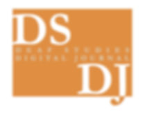 """DSDJ Logo in orange and white. In-between DS which is in the upper left corner and DJ which is in the lower right corner:  """"Deaf Studies Digital Journal"""" in grey font."""