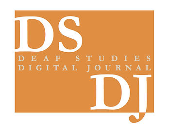 "DSDJ Logo in orange and white. In-between DS which is in the upper left corner and DJ which is in the lower right corner:  ""Deaf Studies Digital Journal"" in grey font."