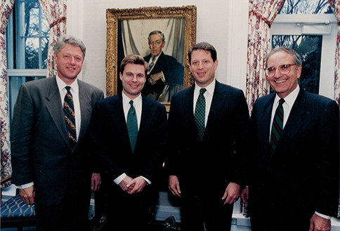 Ross with Bill Clinton, Al Gore, and George Mitchell