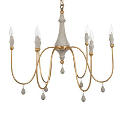 Clay Chandelier Gold Small