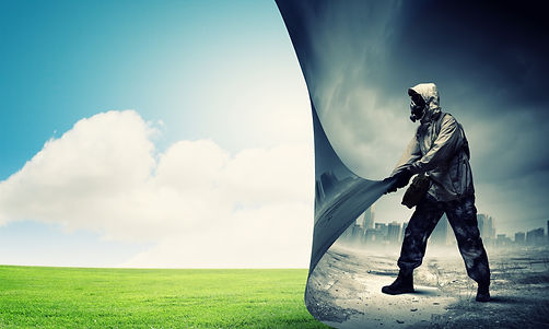 Image of man in gas mask turning page. E