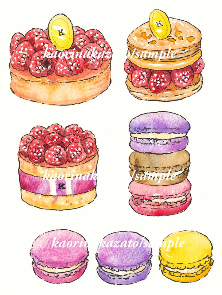 ベリーケーキとマカロン