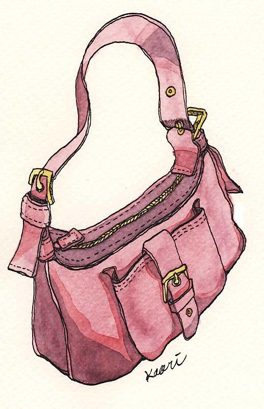 ピンクの革ショルダーバッグ