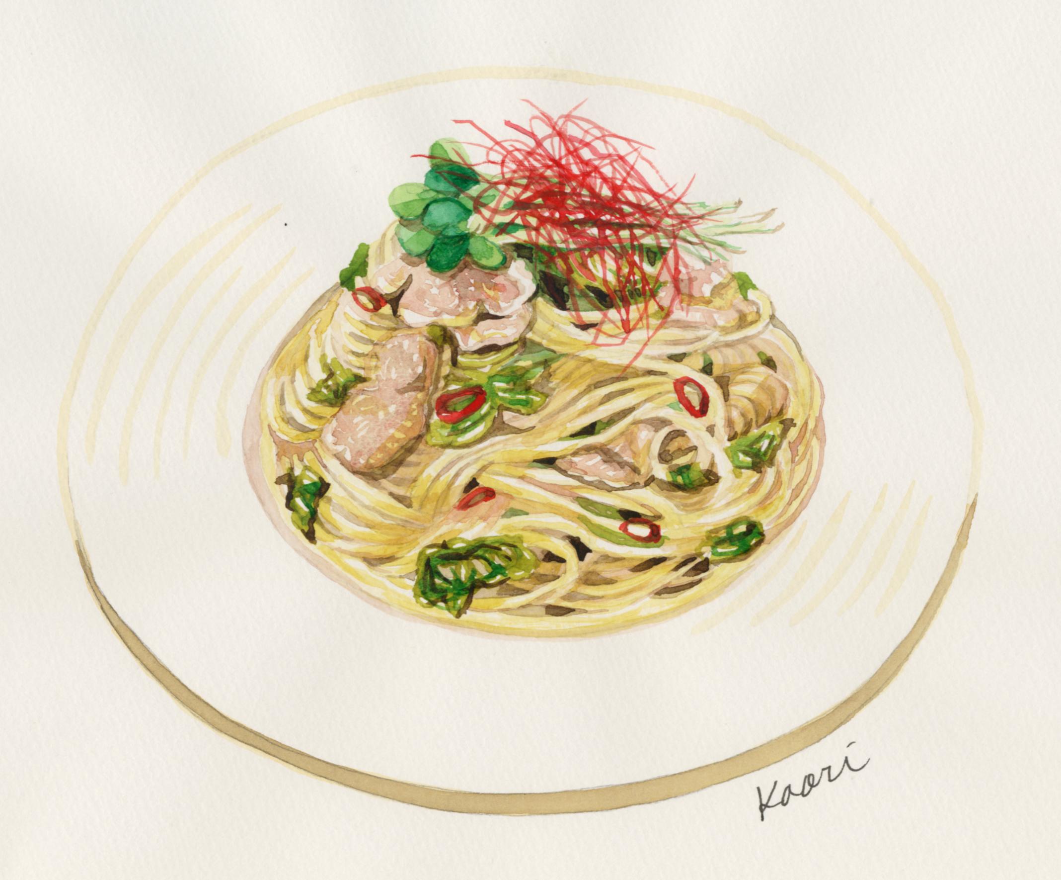 豚肉と高菜の和風ぺペロンチーノ