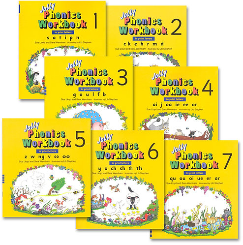 Jolly  Phonics Workbook Set Book 1 to 7 (In Print Letters)