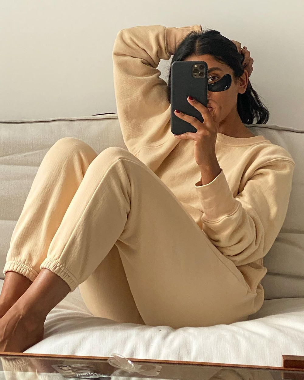 monikh dale wears les tien sweatshirt and sweatpants in tan