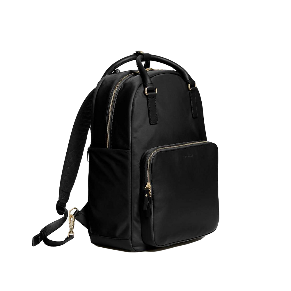 lo and sons the rowledge womens laptop backpack in black with gold hardware