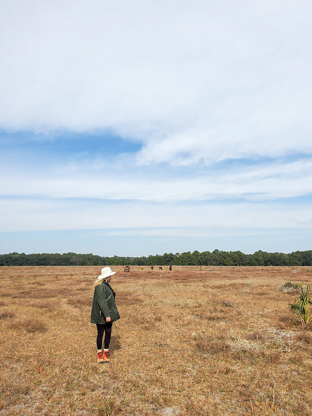 lydia mansel stands in a field at cumberland island national park under a blue and cloud covered sky, wearing a white hat, green jacket, black leggings. and rain boots