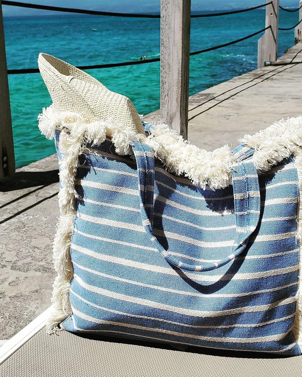 packable hat in beach bag