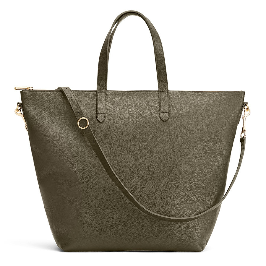 oversized carryall tote bag in dark olive pebbled leather from cuyana