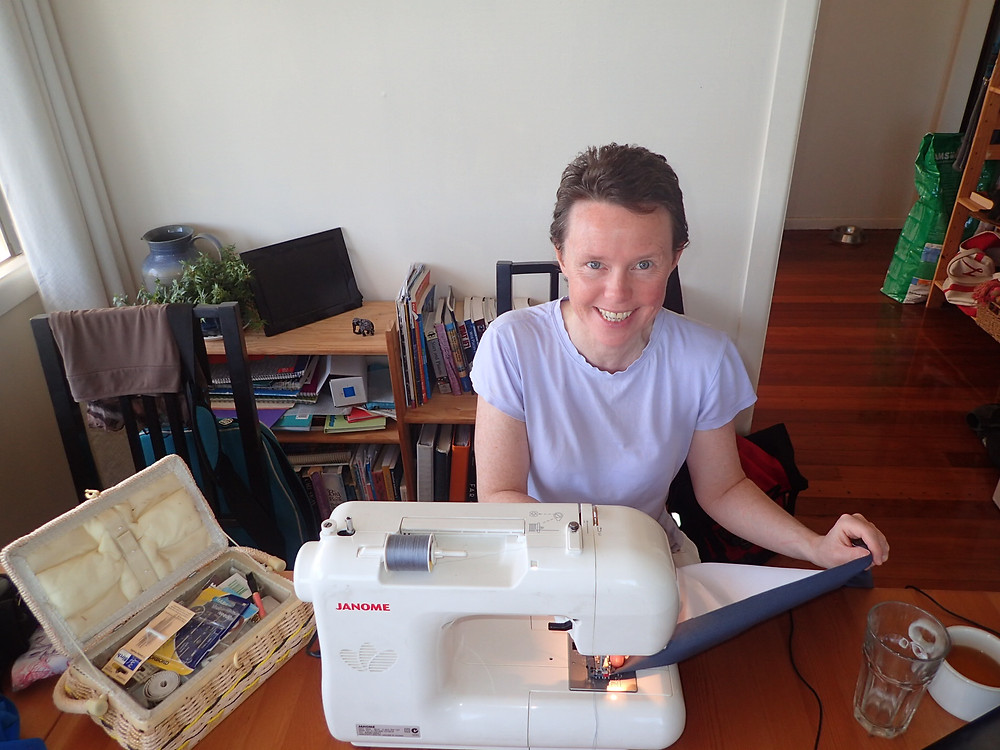 Using my Janome sewing machine to make a curtain for the head on Clipper