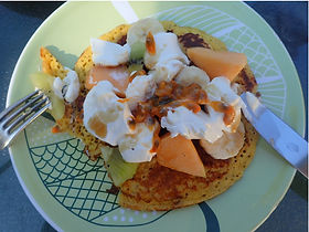 Saturday morning pancakes with organic chicken eggs
