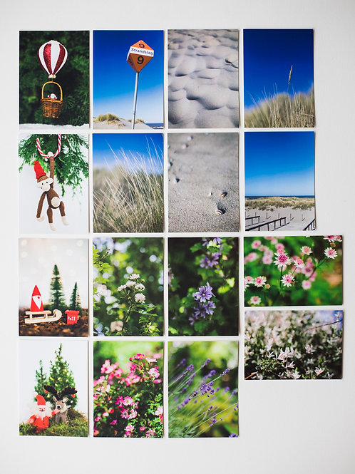 ACTIE: Ansichtkaartenset Strand + Bloemen + Kerst