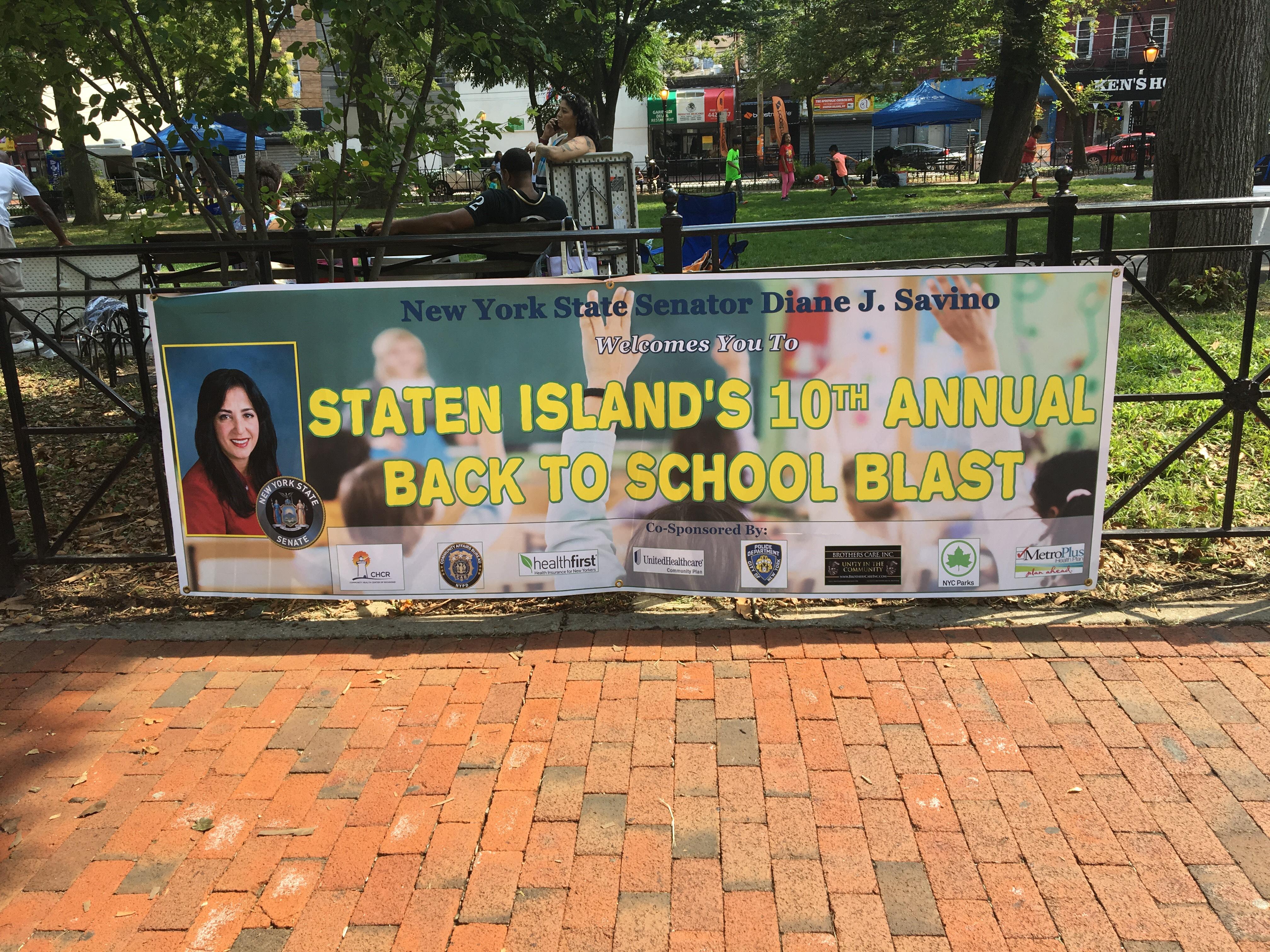 Helping Senator Diane Savino Give Out Free School Supplies in Staten Island