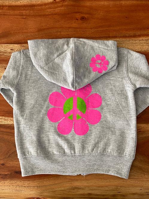 Kid Zip Up Hoodie Peace Flower Power Heather Grey
