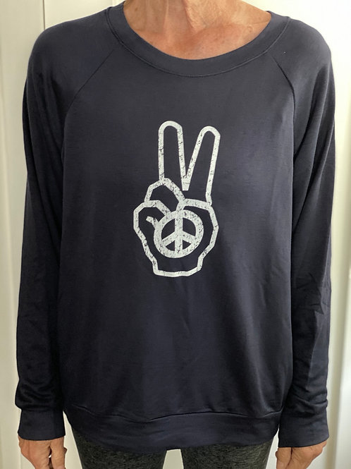 Navy Round Neck Peace Is The Answer Top