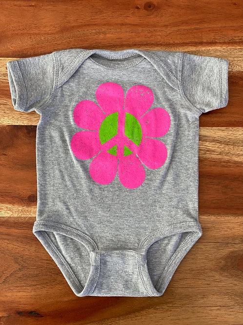 Baby Onesie Peace Flower Power Heather Grey