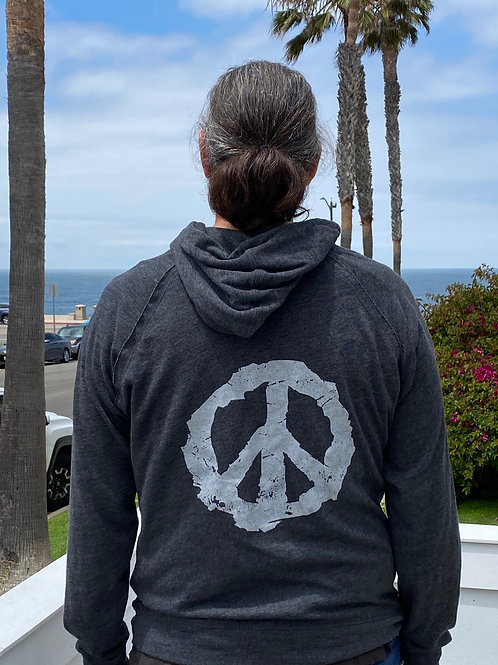 Unisex For All PeaceSign Charcoal Hoodie