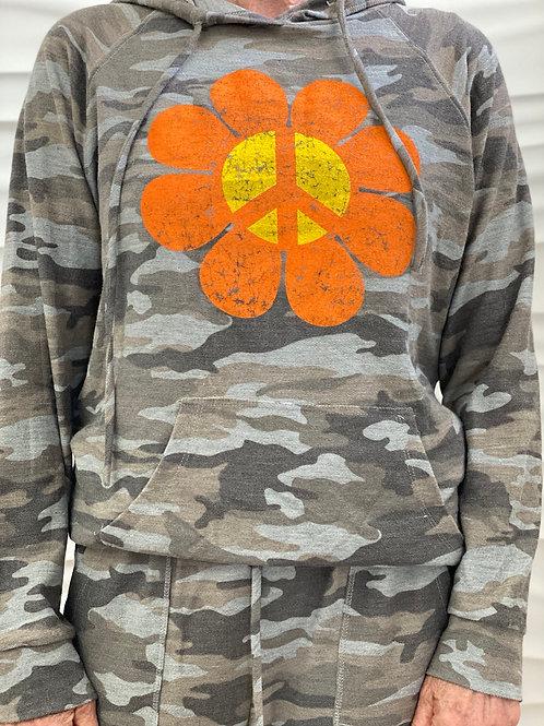Camouflage Peace Flower Hoodie