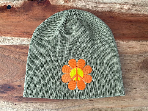 Olive Peace Flower Beanie