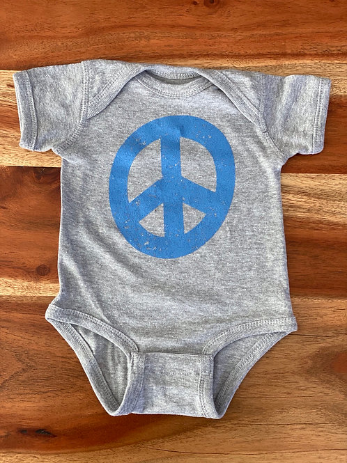 "Baby Onesie ""I will be the change"" Heather Grey w/Blue"