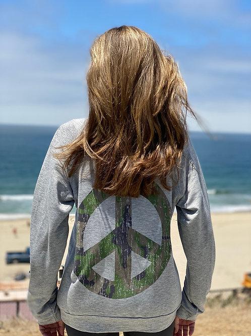Heather Grey Camouflage Peace Round Neck