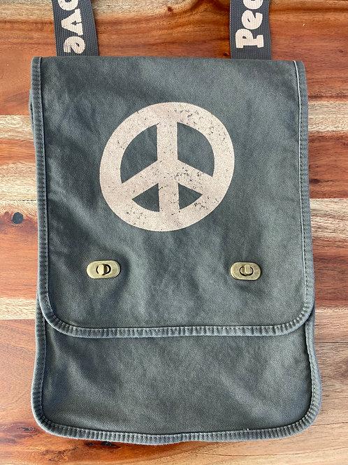 Peace & Love Canvas Messenger Bag