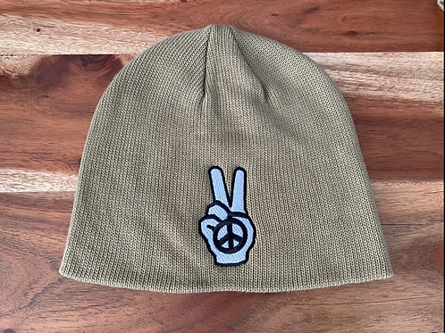 Olive Peace Fingers Hand Beanie