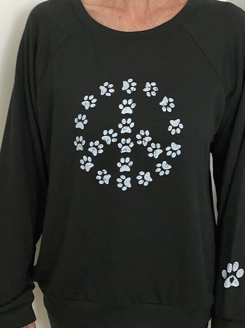 Black Round Neck Paw Print Peace Sing Top